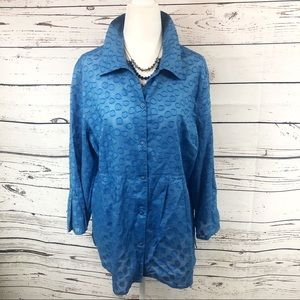 Jh Collectibles Blue Long Sleeve Button Up Blouse